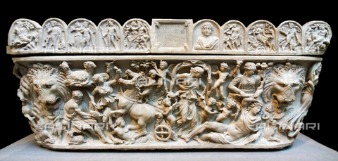 WHA-S-WHA041-0580 - marble sarcophagus with the myth of Selene and endymion, early 3rd century A.D. Roman. An inscription at the centre of the lid informs us that this trough-shaped sarcophagus was dedicated to a woman named Arria, who lived fifty years and ten months, by her daughter Aninia Hilara. Endymion was been granted eternal youth and eternal sleep. - World History Archive/Archivi Alinari