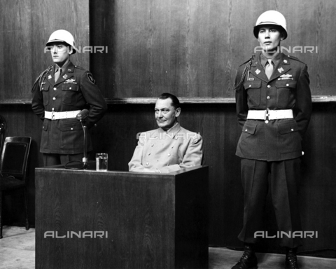 WHA-S-WHA041-0647 - Hermann Wilhelm Göring January 1893  October 1946, German politician, military leader at his trial for war Crimes 1946 - World History Archive/Archivi Alinari