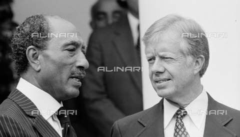 WHA-S-WHA041-0789 - Anwar El Sadat and Jimmy Carter at White House, to sign the 1979 EgyptIsrael Peace Treaty - World History Archive/Alinari Archives