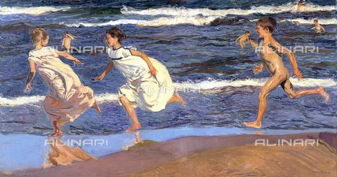 WHA-S-WHA049-0281 - Running on the beach, oil on canvas, Sorolla y Bastida Joaquin (1863-1923), Museo de Bellas Artes de Asturias, Oviedo - World History Archive/Alinari Archives
