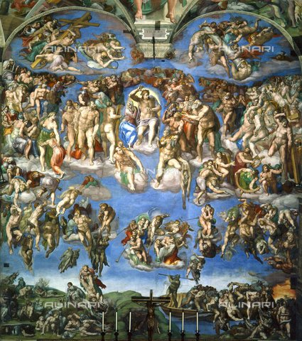 WHA-S-WHA052-0802 - Last Judgment, fresco, Michelangelo Buonarroti (1475-1564), Sistine Chapel, Vatican Museums, Vatican City - World History Archive/Alinari Archives