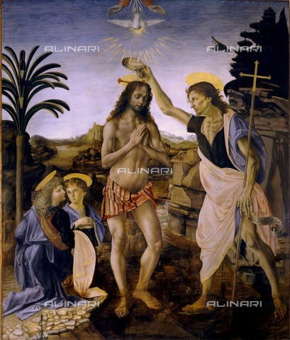 WHA-S-WHA055-0033 - Baptism of Christ (after the 1998 restoration), oil on panel, Leonardo da Vinci (1452-1519) and Andrea del Verrocchio (1435-1488), Uffizi Gallery, Florence - World History Archive/Alinari Archives