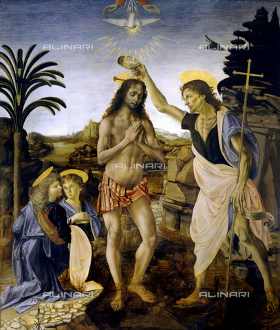 WHA-S-WHA055-0064 - Baptism of Christ (after the 1998 restoration), oil on panel, Leonardo da Vinci (1452-1519) and Andrea del Verrocchio (1435-1488), Uffizi Gallery, Florence - World History Archive/Alinari Archives