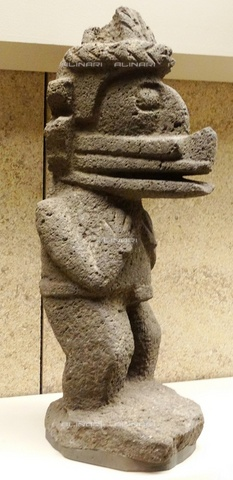 WHA-S-WHA065-0901 - The god of the wind Ehecatl, statue in basalt, Aztec art of the years 1300-1521 - World History Archive/Alinari Archives