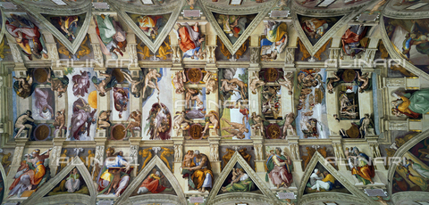WHA-S-WHA070-0697 - Stories of the Genesis, fresco, Michelangelo Buonarroti (1475-1564), vault of the Sistine Chapel, Vatican Museums, Vatican City - World History Archive/Alinari Archives