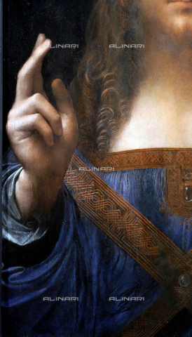 WHA-S-WHA114-0947 - Salvator Mundi, detail, oil on canvas, Leonardo da Vinci (1452-1519) (attr.), Private Collection, Abu Dhabi - World History Archive/Alinari Archives