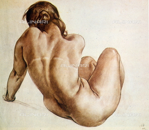 WHA-S-WHA131-0782 - Female nude, drawing, Aleksandr Deyneka (1899-1969) - World History Archive/Alinari Archives