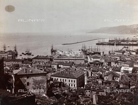 WSA-F-000538-0000 - View of Trieste from San Giusto hill. They are recognizable Palazzo del Tergesteo and the Chamber of Commerce - Data dello scatto: 1890 ca. - Archivi Alinari, Firenze