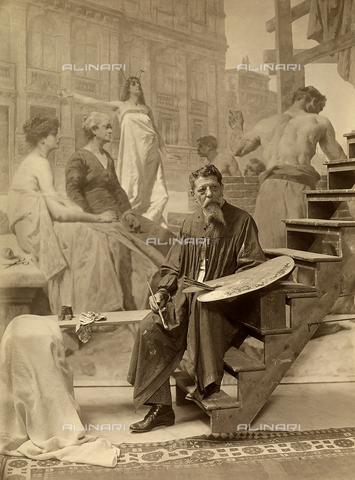WSA-F-001709-0000 - Il pittore Eugenio Scomparini ritratto in abiti da lavoro davanti ad una sua opera - Data dello scatto: 1912 - Raccolte Museali Fratelli Alinari (RMFA)-archivio Studio Wulz, Firenze