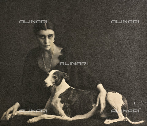 WSA-F-002394-0000 - Portrait of a young woman with a greyhound