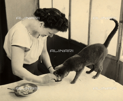 WSA-F-003475-0000 - Wanda Wulz preparing food for her cat Pippo