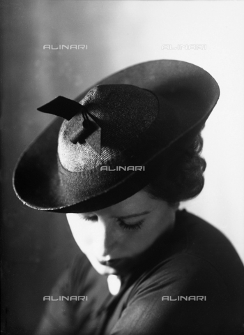 WWA-F-001996-0000 - Closeup of a woman with a small hat