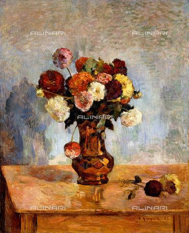 atk-f-019914-0000 - Le dalie, mazzo di fiori in vaso, 1885, Paul Gauguin  (1848-1903) - Christie's Images Ltd - ARTOTHEK / Artothek/Archivi Alinari