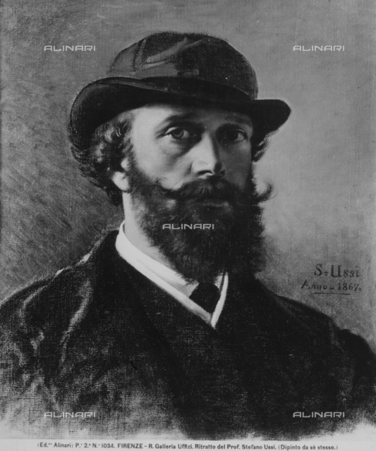 Self-portrait painting of Stefano Ussi