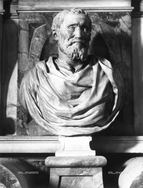 Bust of Michelangelo, Tomb of Michelangelo Buonarroti, Basilica of Santa Croce, Florence