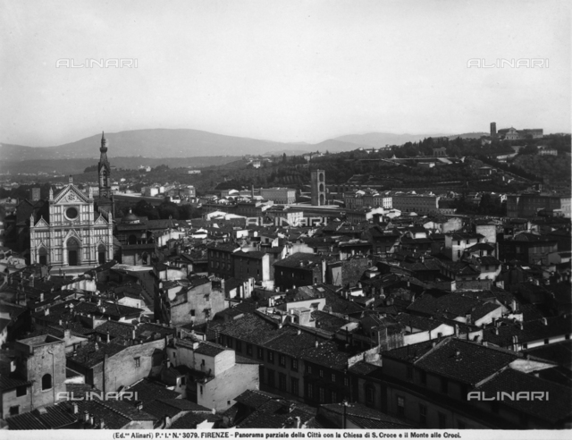 View of Florence. On the left, the basilica of S.Croce and, in the background, the Monte alle Croci