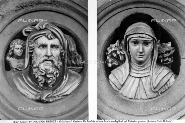 Busts of Prophet and female Saint, Main Cloister, Monastery of Galluzzo, Florence.