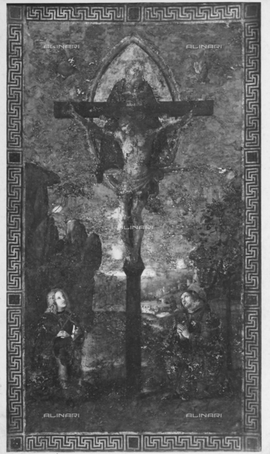 Crucifixion with two saints; painting od one side of a banner in the Municipal Picture Gallery of Città di Castello
