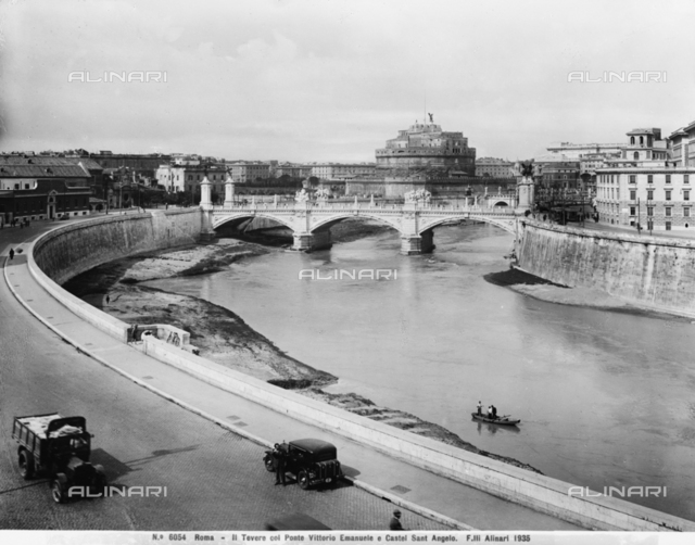View of the Tiber in Rome with the Victor Emmanuel Bridge and Castel Sant'Angelo