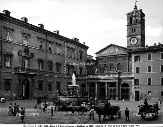 Facade, basilica of Saint Maria in Trastevere, Rome