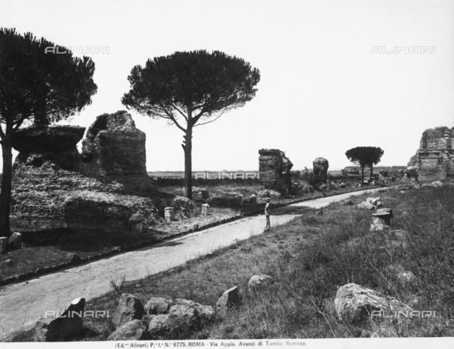 Ruins of the tombs along Via Appia Antica in Rome