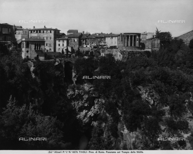 Panoramic view of Tivoli, province of Rome, with the so-called Temple of Vesta