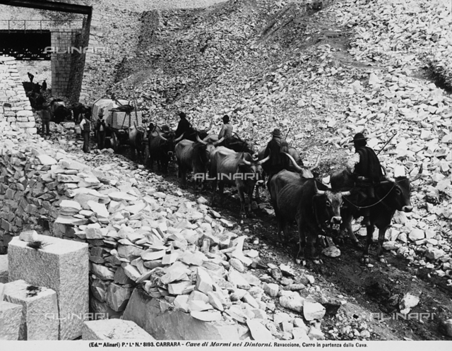 Wagon setting off for the quarries at Ravaccione, near Carrara