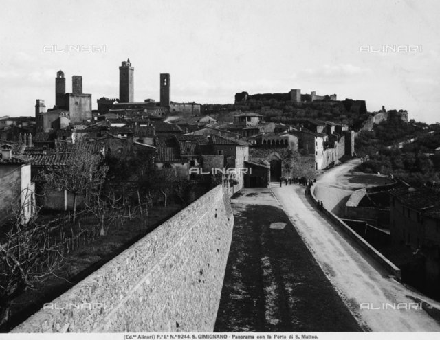 Panoramic View of San Gimignano with its towers and St Matteo Gate