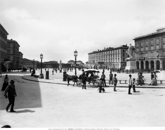 View of Piazza Carlo Alberto in Livorno, known also as Voltone