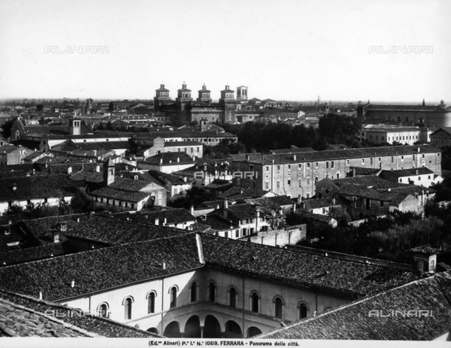 Panoramic view of the city of Ferrara. In the background the towers of Castello Estense are visible