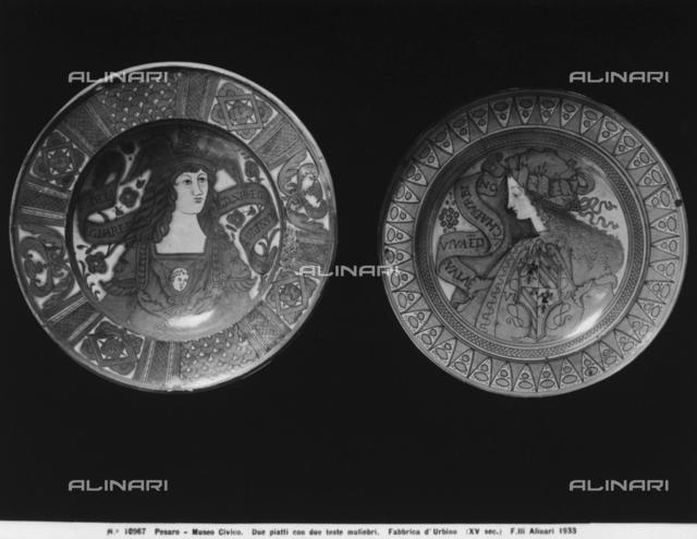 Ceramic plates painted with feminine figures. conserved in the Museum of Ceramics, Civic Museum, Pesaro