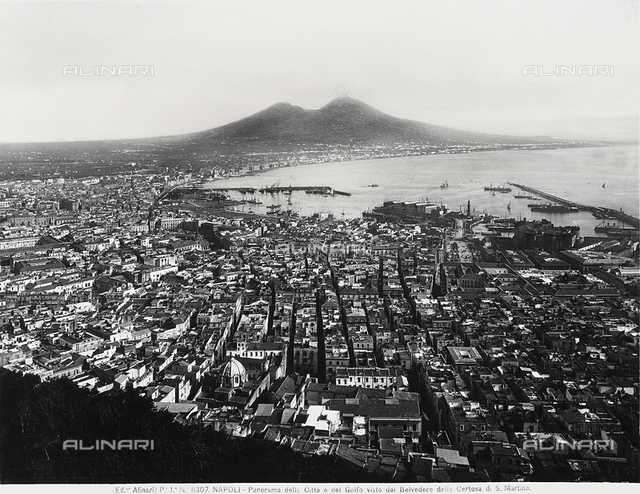 Panorama of Naples and the Gulf from the Belvedere (viewpoint) at the Carthusian monastery of San Martino