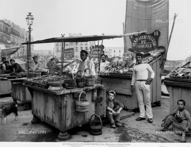 """Ostricaio"": Fish and oyster sellers on the waterfront of Santa Lucia in Naples"
