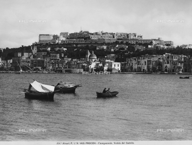 Panorama of the island of Procida with the Castle of Baia