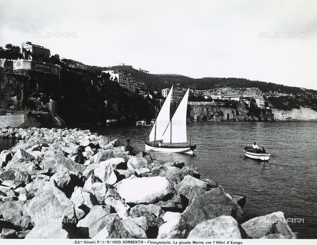 Panorama of the Marina Piccola in Sorrento, with the Hotel Europa