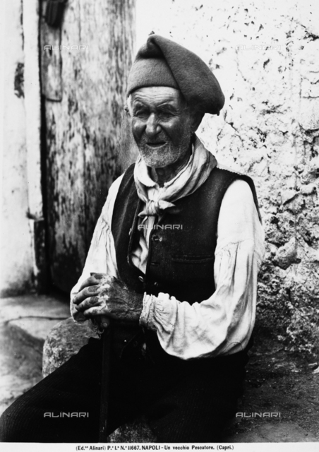 An elderly fisherman photographed in Capri