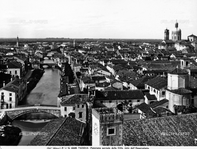 Panoramic view from the Observatory of Padua. On the left, the river with bridges is visible.