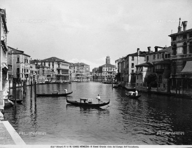 The Grand Canal with Ca' Rezzonico and Ca' Foscari in Venice. View from Campo dell'Accademia