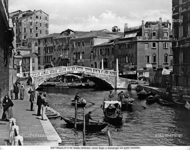 View of Canal Regio (Cannaregio) with the bridge called Ponte delle Guglie