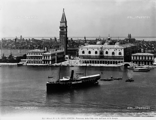 Panoramic view of the city of Venice from the Island of San Giorgio