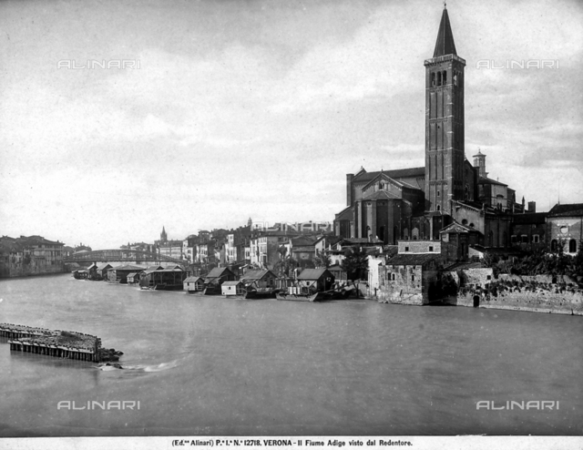 View of the Adige river and of Verona from the Redentore. In the right is the Church of S. Anastasia.