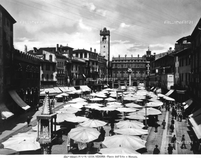 View of Piazza delle Erbe with the market