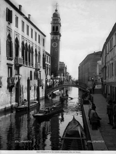 View of the Rio dei Greci in Venice; the bell tower of the church of San Giorgio dei Greci can be seen on the right
