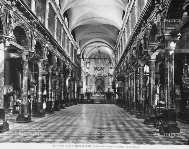 The interior of the church of the Carmini (church of Santa Maria del Carmelo), Venice