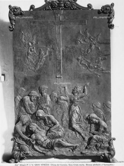 Deposition, bronze bas-relief, church of the Carmini (church of Santa Maria del Carmelo), Venice