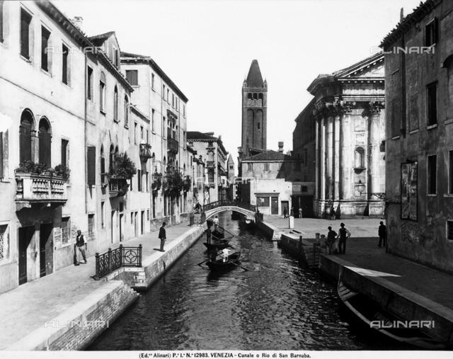 View of the Rio di San Barnaba in Venice; in the background, the bell tower of the church of S. Barnaba and, on the right, Campo San Barnaba with the church of San Barnaba