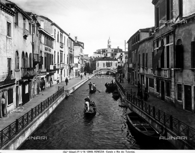 View with people of the Tolentini Canal in Venice