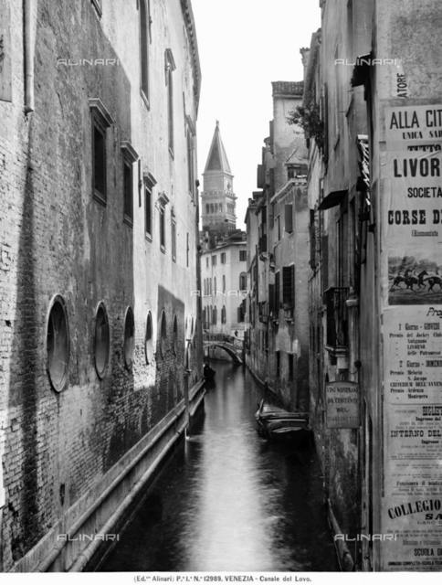 View with people of the Rio del Lovo in Venice