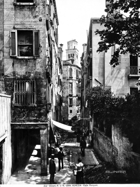 Houses on the Calle Rampani, in Venice