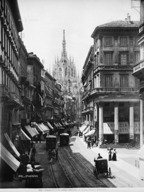 View of Corso Vittorio Emanuele II in Milan. In the background, the cathedral is visible.